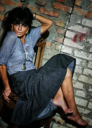 Джинсовая юбка расклешенная макси длинная bm