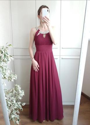 Шикарное вечернее нарядное длинное платье с камнями в пол eva & lola 🌺