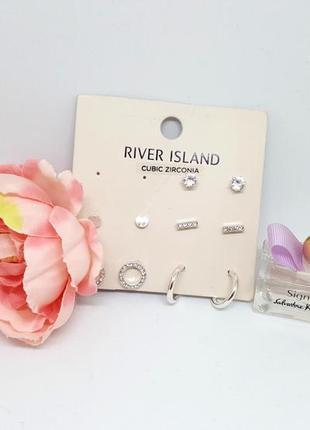 🦄🌸 набор миниатюрных сережек-гвоздиков 5 пар с фианитами от river island оригинал