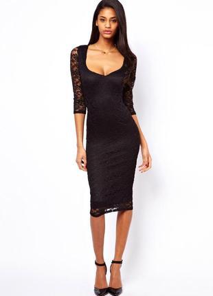 Черное платье миди облегающее