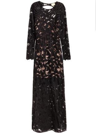 Шикарное кружевное длинное вечернее платье h&m с нюдовой подкладкой.