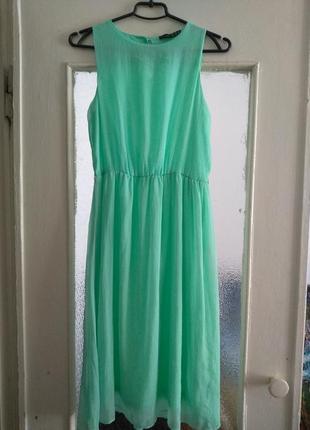 Мятное шифоновое платье