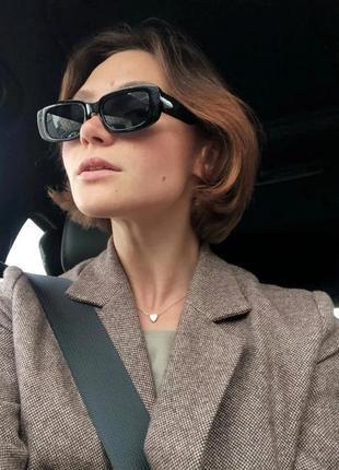 Качественные солнцезащитные очки черные ретро винтаж тренд 60-е сонцезахисні окуляри3 фото