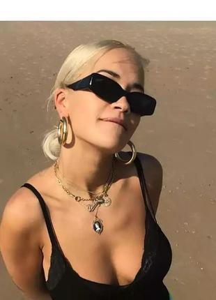 Качественные солнцезащитные очки черные ретро винтаж тренд 60-е сонцезахисні окуляри2 фото