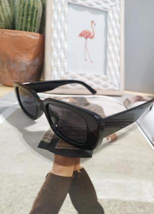 Качественные солнцезащитные очки черные ретро винтаж тренд 60-е сонцезахисні окуляри9 фото