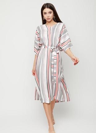 Классное платье в полоску с поясом и разрезами по бокам