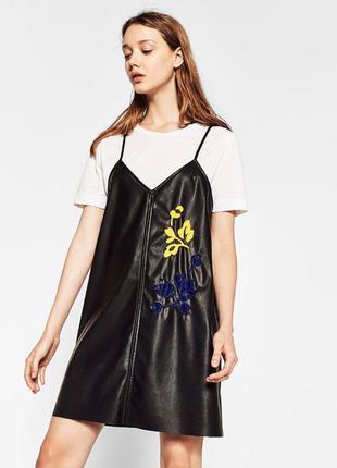 Платье - сарафан из эко-кожи zara л