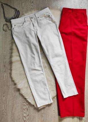 Белые джинсы скинни кроп узкачи низкая талия посадка с бахромой укороченные американки