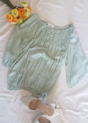Блуза рубашка вискоза мятная