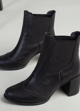 Чёрные ботильоны зима/деми натуральная кожа. ботинки на устойчивом каблуке