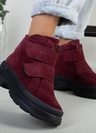 Замшевые ботинки на платформе замша. бордовые ботинки
