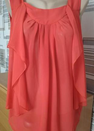Шикарная шифоновая блуза, цвет насыщенный коралловый, размер с-м