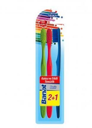 Набір зубних щіток середньої жорсткості banat, 3 шт.