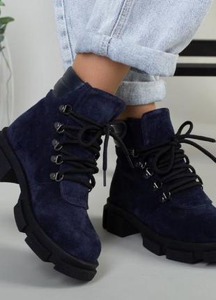 Синие замшевые ботинки на низком ходу зимние ботинки