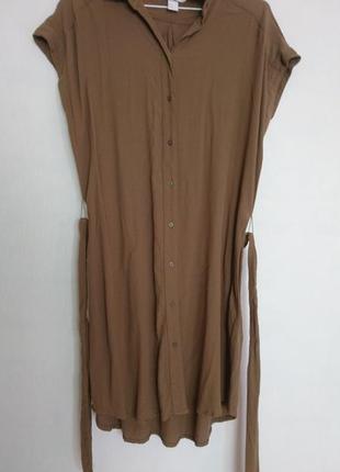 Платье рубашка оливковое ассиметричное пот 54, поб 58