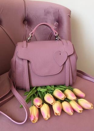Кожаный мини рюкзак из натуральной кожи, италия