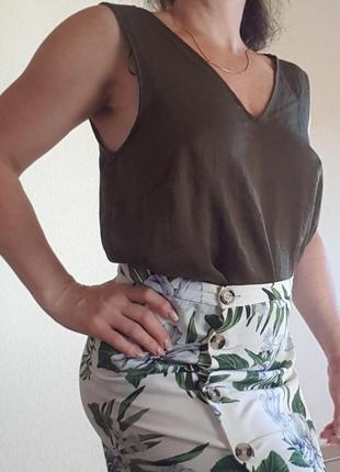 Майка блуза топ оливкового цвета