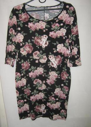 Платье туника вискоза цветы батал new look