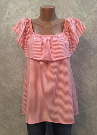Блузка в полоску с рюшей размер 16-18 papaya