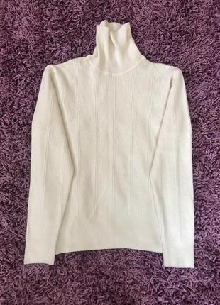 Шерстяной молочный свитер водолазка в рубчик joop оригинал wolford