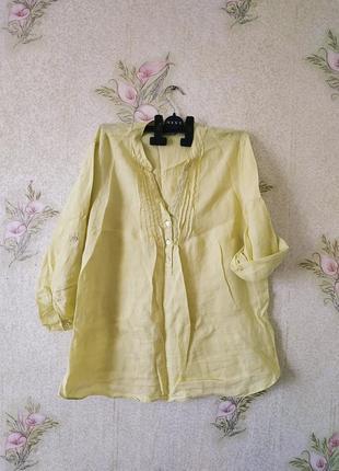 Женская льяная рубашка # жёлтая блузка # лён # m&s