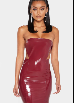 Облягаюча сукня-футляр  maroon pu bandeau
