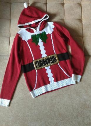 Новогодний свитер свитшот next с принтом санты, размер s