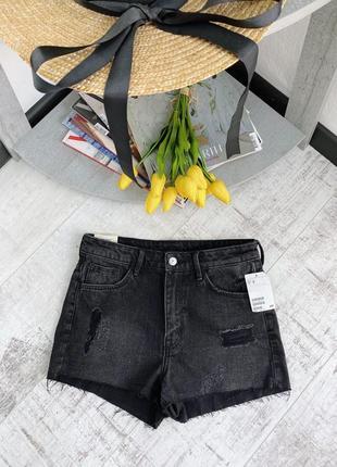 Новые джинсовые шорты высокая посадка h&m