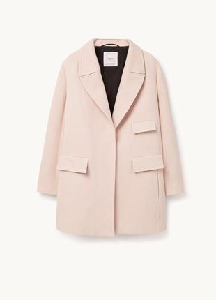 Нежное пальто/полупальто цвета пудры из хлопка. mango