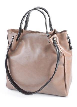 Кофейная женская сумка шоппер летняя с комбинированными ручками на плечо