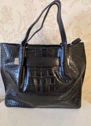 Кожаная роскошная сумка 2020 черная рептилия шкіряна́, ремешок на плечо натуральная кожа