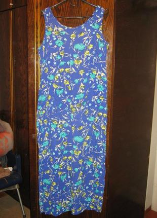 Платье натуральное цветы вискоза жатка по бокам разрезы soon