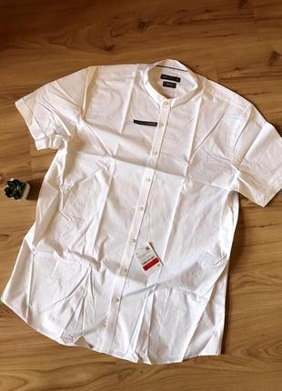💣 sale!100% хлопок. белая рубашка на короткий рукав с воротником мандарин