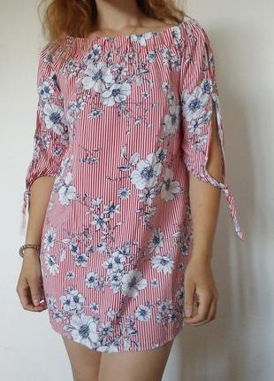Платье в полоску со спущеными плечами
