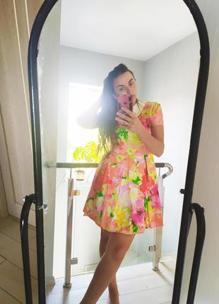 Хлопковое яркое цветочное платье хлопок коттон трапеция