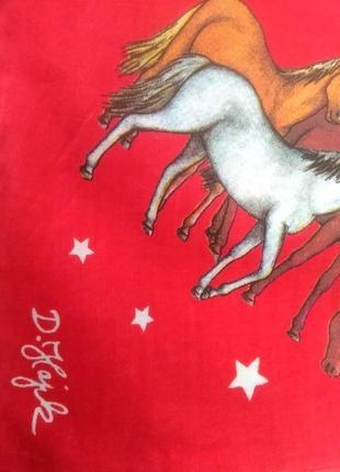 Винтажный дизайнерский платок лошадки.