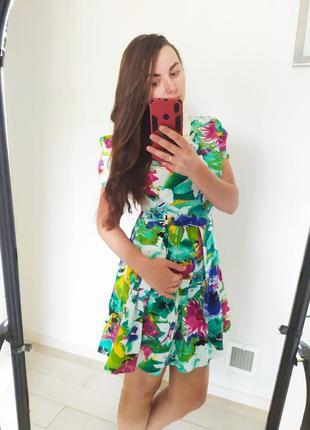 Яркое летнее цветочное платье трапеция хлопок коттон