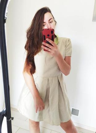 Оливковое платье в горох ретро трапеция