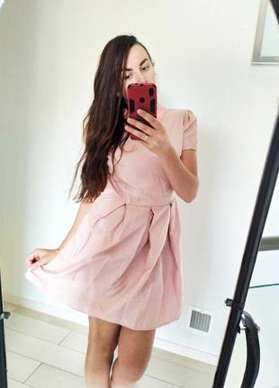 Нарядное розовое платье в горох хлопок коттон
