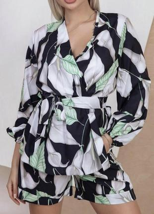 Легкий шёлковый костюм шорты и рубашка назапах кимоно батал легкий шелковий шорти кімоно