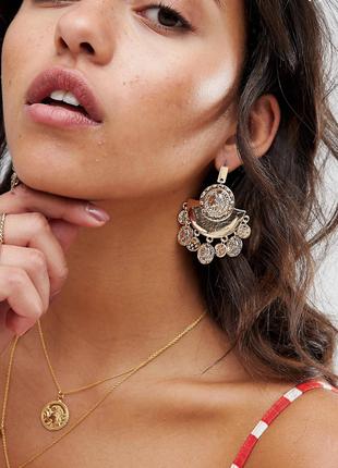 Стильні сережки, серьги с монетками 💎з сайту asos