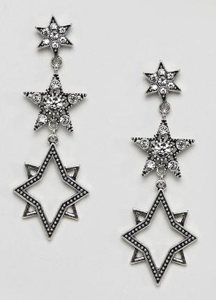 Стильні сережки зірочки, серьги  звездочки 💎з сайту asos