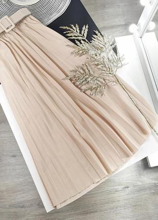 Базовая юбка миди плиссе с поясом