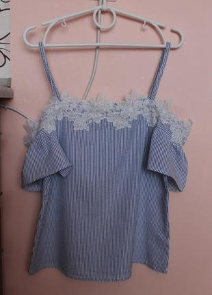 Нарядная блуза с открытыми плечиками, майка, блузка 42-44 р.