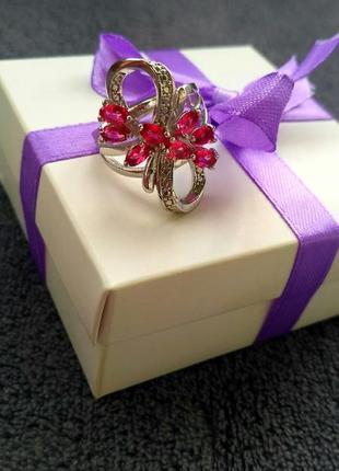 Кольцо женское, колечко жіноче, перстень з камінням, китайське срібло