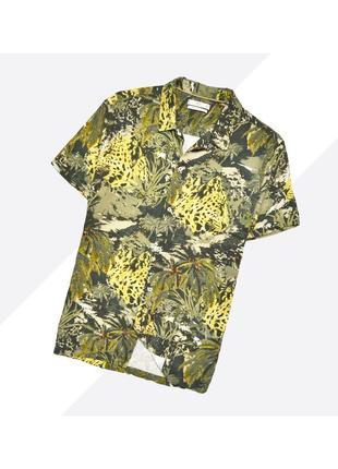 Mng mango man s / лёгкая летняя гавайская рубашка в насыщенный принт