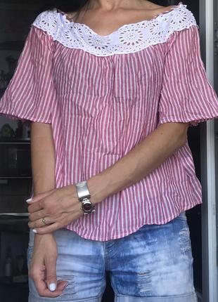 Красивая хлопковая блуза в полоску