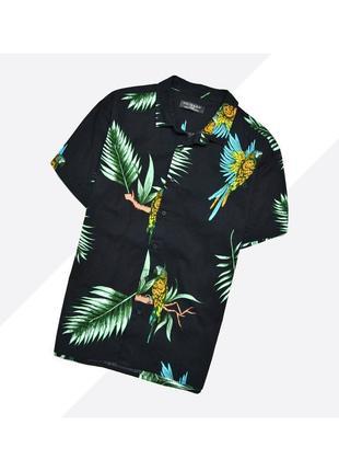 Primark l / чёрная насыщенная летняя гавайская рубашка в яркий принт