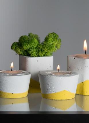 Набор бетонного декора в  желтом цвете (из 4 ед.)