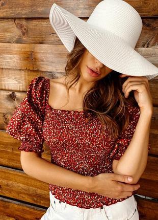 Цветочная женская блуза топ с резинкой